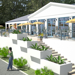 Restauracji nad jeziorem – koncepcja.