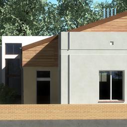 Wizualizacja do koncepcji budynku pomocy społecznej.